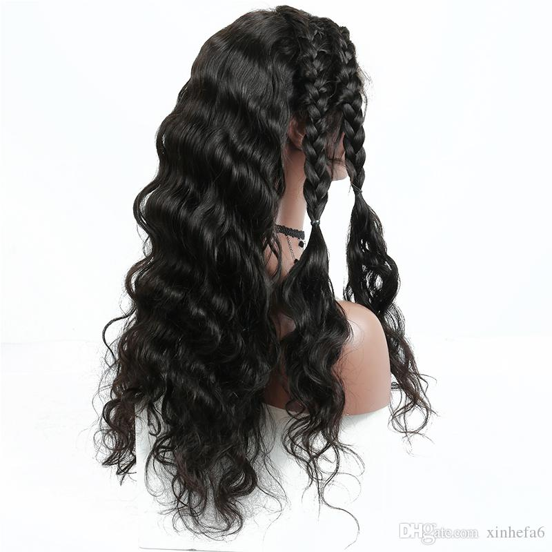 Wet And Wavy Virgin Brazilian Hair Glueless Front Lace Wigs Brazilian Deep Wave Human Hair Braiding Full Lace Wig Fast Delivery