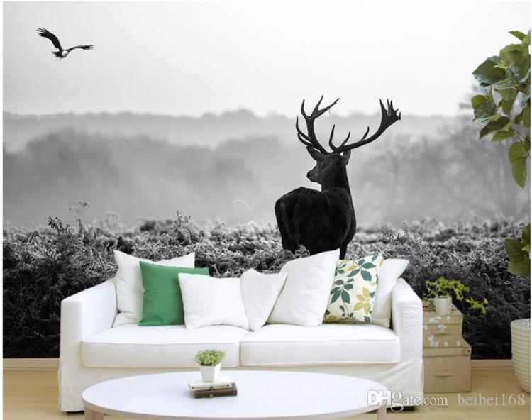 3d wallpaper custom photo Silent forest morning fog elk black and white scenery painting 3d wall murals wallpaper for walls 3 d