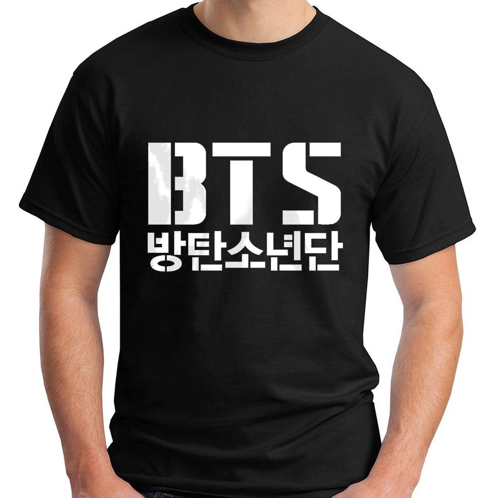 Nouveau BTS Bangtan Logo Noir Tee shirt Homme
