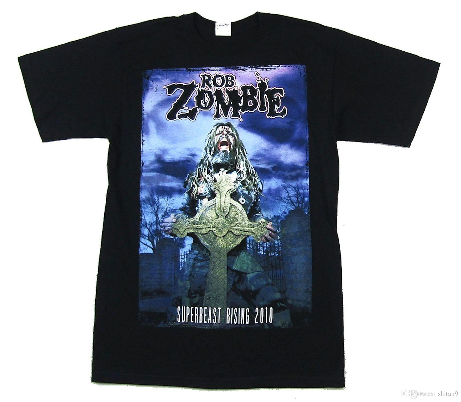 df1f9f6a7d848 Rob Zombie Tombstone Superbeast Tour 2010 Black T Shirt New Official Merch  Stranger Things Design T Shirt 2018 New