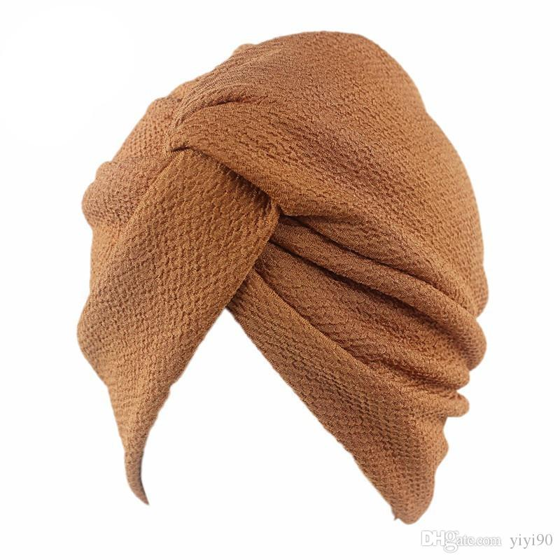 Yeni Müslüman Kadınlar Kabarcık pamuk Çapraz Streç Kemo Şapka Bere Turban Şapkalar Wrap Cap İçin Kanser