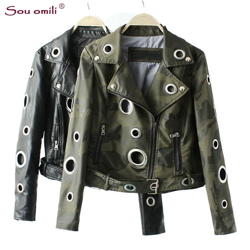 491f8c2247f7a Camouflage Army Green Leather Jacket Women Metal Circle Moto Coat Punk Rock  Faux Jacket Jaquetas Couro Casaco Chaquetas Canada 2019 From Edward03, ...
