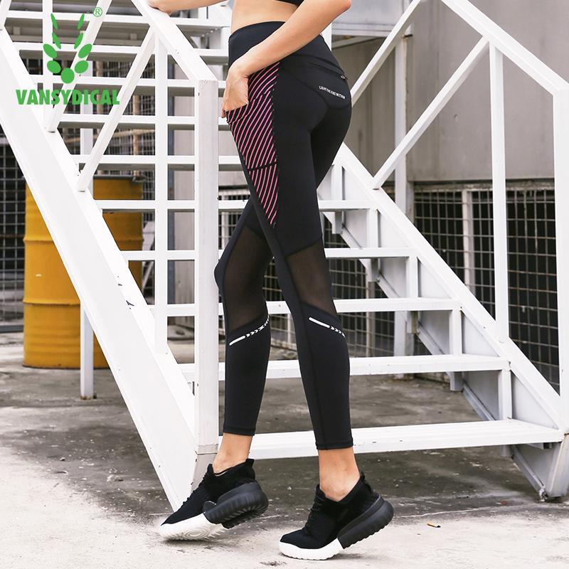 Compre Vansydical Womens Running Mallas Yoga Mesh Pantalones De Cintura  Alta Fitness Gym Leggings Mujeres Compresión Deportes Pantalones Con  Bolsillos A ... 6c93803cb6522