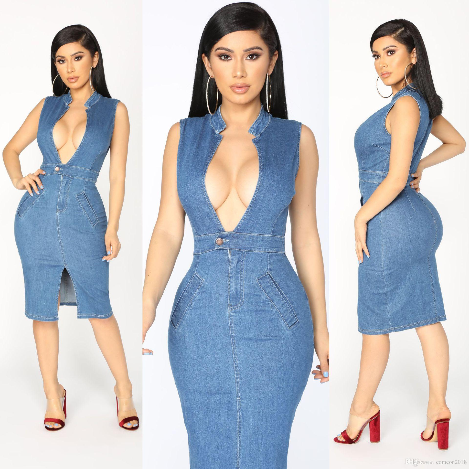 796e07b5f57 2018 Fashion Women Clothes Womens Party Dress Vintage Sexy Sleeveless Denim  Women Dress Solid Deep V Neck Bodycon Jean Dresses Clubwear Party Dresses  ...