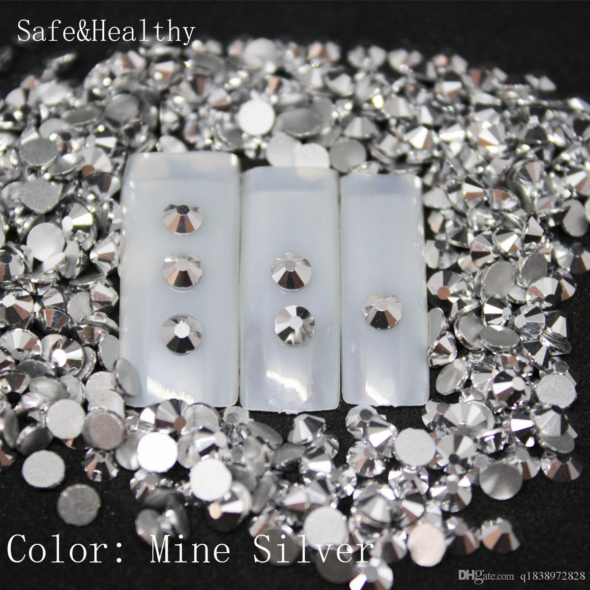 1440 pcs/Pack SS3-SS50 Mine Silver Nail Art Decorations Rhinestones For 3d Charm Glass Flatback Non Hotfix DIY Nails Decorations