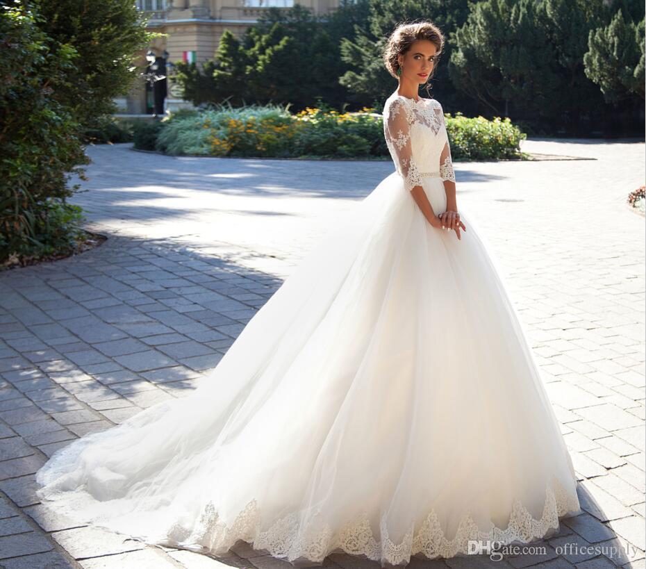 2019 robes de mariée pays dentelle bateau cou une ligne demi-manches bouton dos perles ceinture appliques jardin novia robes de mariée
