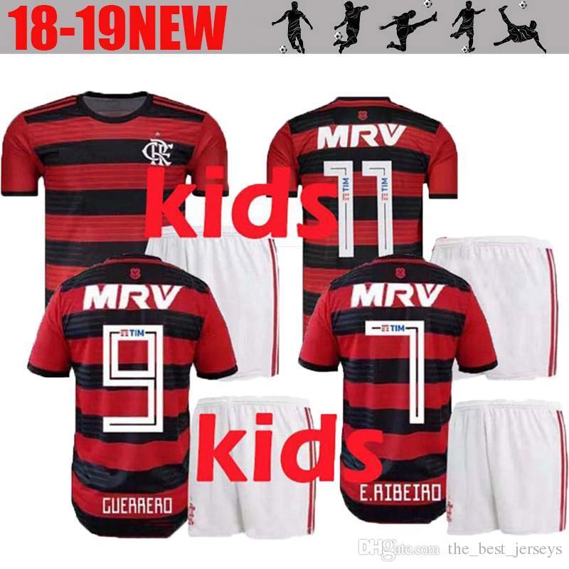 2019 Kids Kits 2019 Flamengo Soccer Jersey Flamenco DIEGO GUERRERO E  .Ribeiro MANCUELLO H.DOURADO VINICIUS JR Brazil Children Boys Football Shirt  From ... 07b00a129