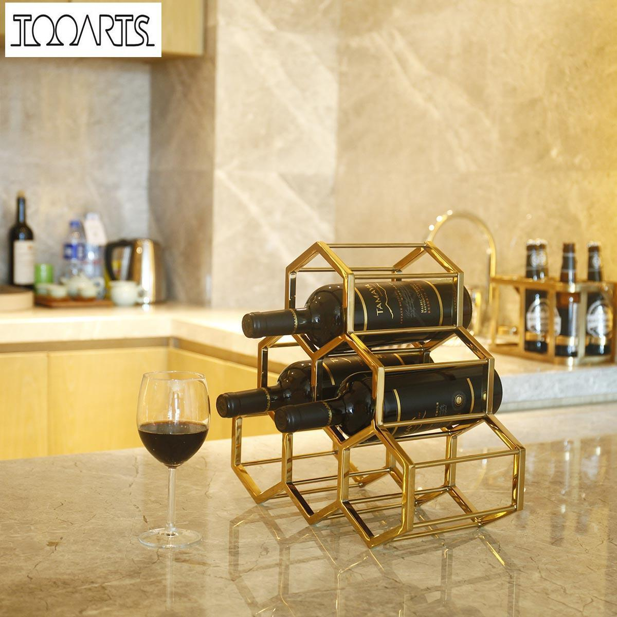 2018 Wine Rack Metal Wine Holder Innovative Wine Holder 6 Bottle ...