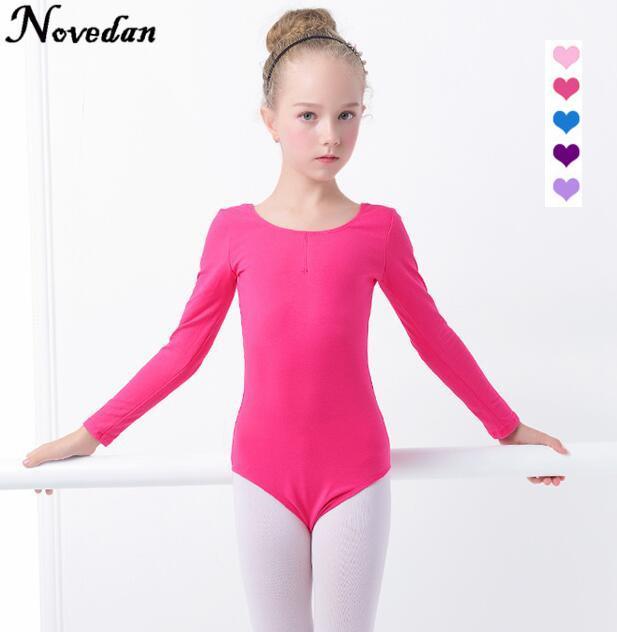 8a55c71983914 Children Kids Black Pink Cotton Short/Long Sleeve Leotard Clothes Girls  Ballet Dance Gymnastics Dancewear
