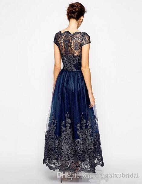 Mãe do vintage off vestidos de noiva 2018 Novo Cap Manga Plus Size Tule Azul Marinho Rendas Apliques de Comprimento Longo Tornozelo Mulheres Formais Vestidos de Mães