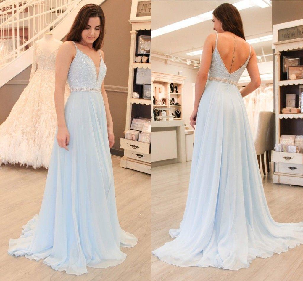 245ea8a7d2 Light Sky Blue Straps Spaghetti A Line Chiffon Long Prom Dresses Deep V  Neck Sequins Appliqued Zipper Back Evening Dresses Cheap Short Blue Prom  Dresses ...