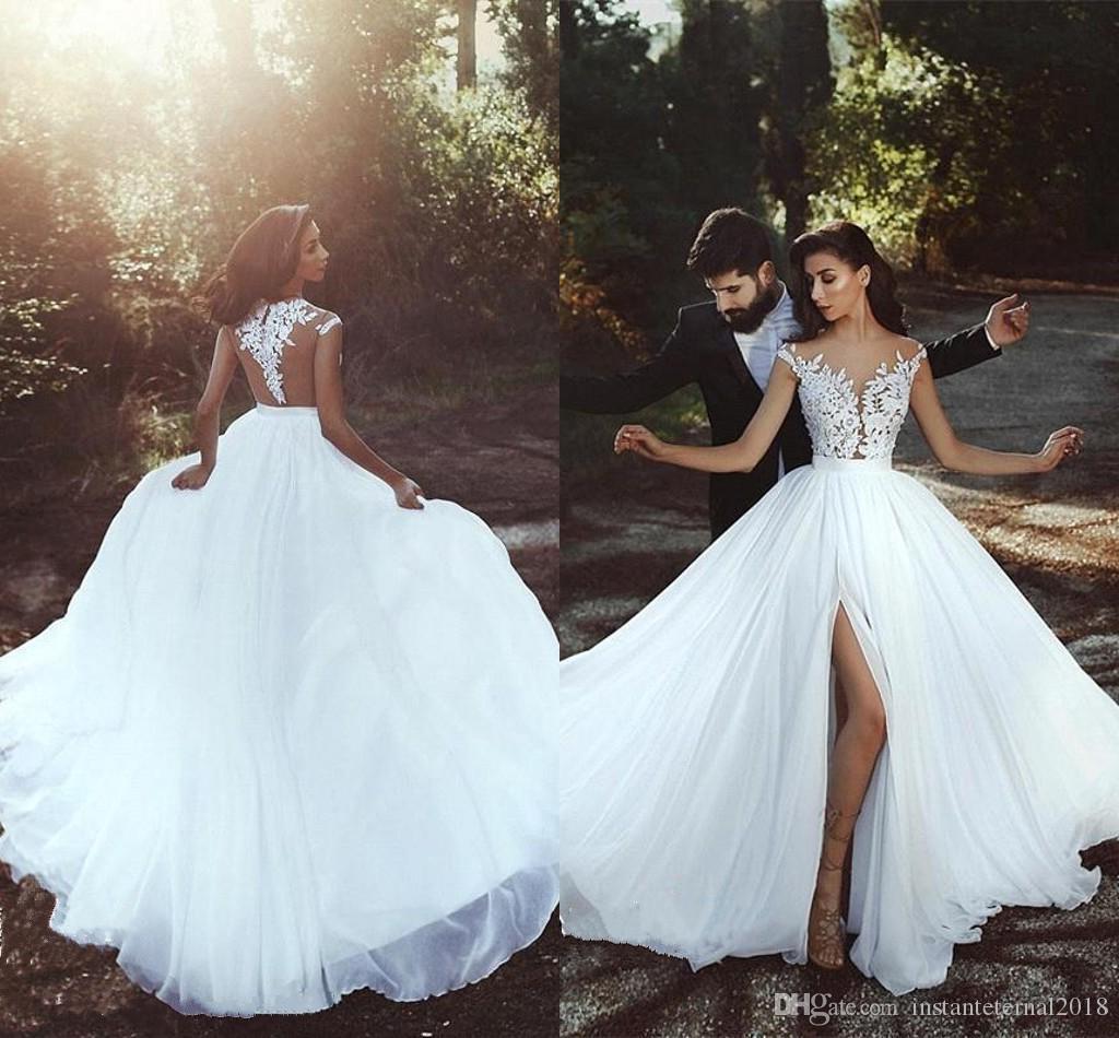 Compre Vestidos Novia 2018 Con Blanca De Elegante Simple Capucha fgvIY6mby7
