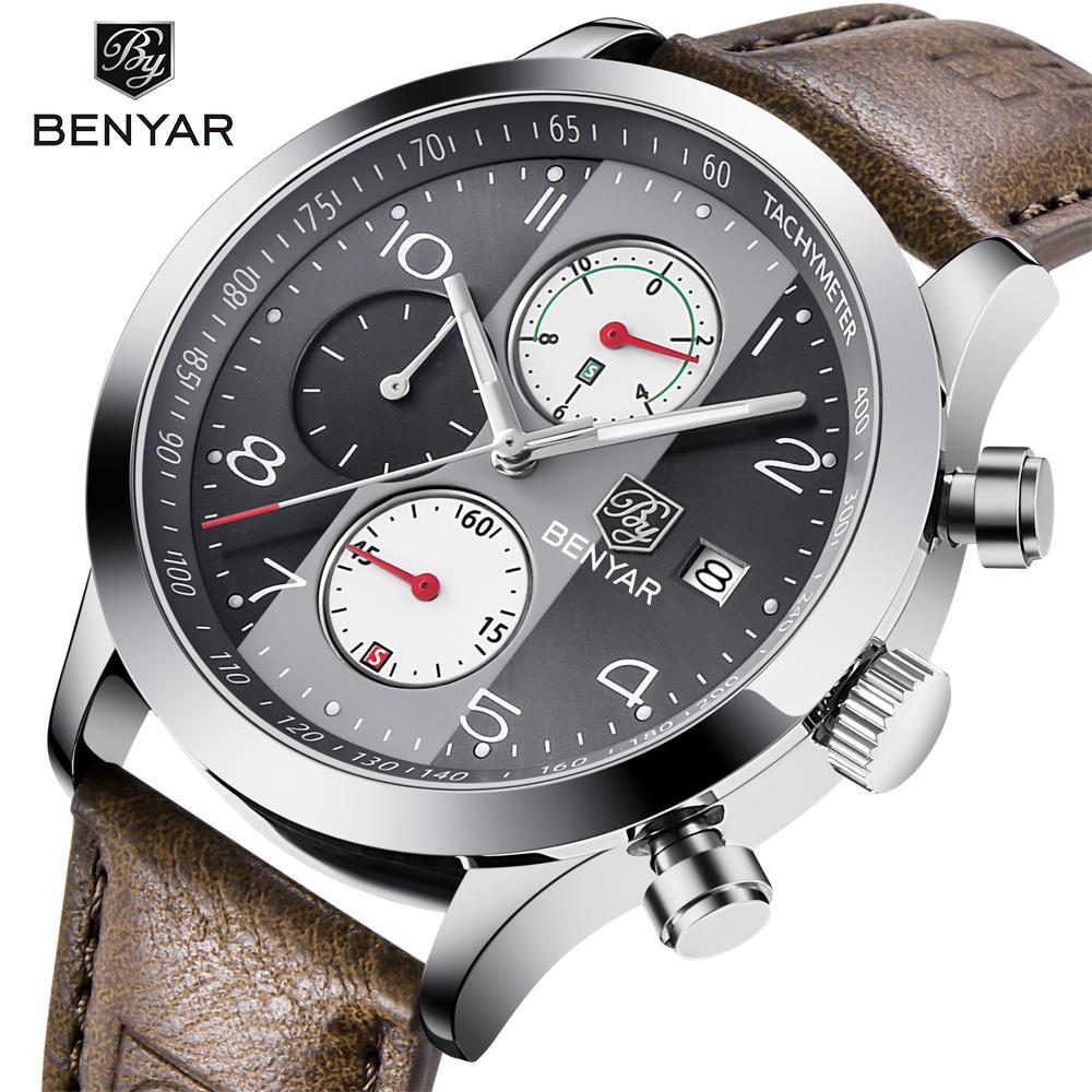 Uhren Top Luxus Marke Männer Sport Uhren Quarz Chronograph Business Wasserdichte Uhren Männlichen Uhr Uhr Männer Relogio Masculino Benyar Herrenuhren