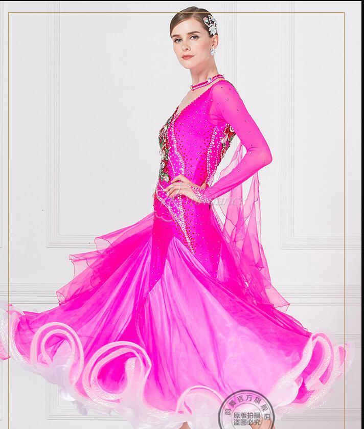 c8fed12513 Compre Vestido De Salón Mujer Rosa Rojo Vestidos De Salón Baile  Personalizar Vestido Rojo Competencia Lycra A  647.42 Del Dayup