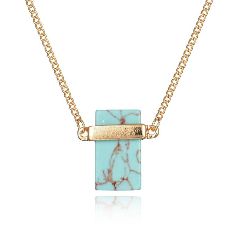 Natural Stone Pendant Necklace Rectangle White Turquoise Sweater Necklaces Women luxury jewelry Crystal Stone Jewelry Quartz Stone Necklaces