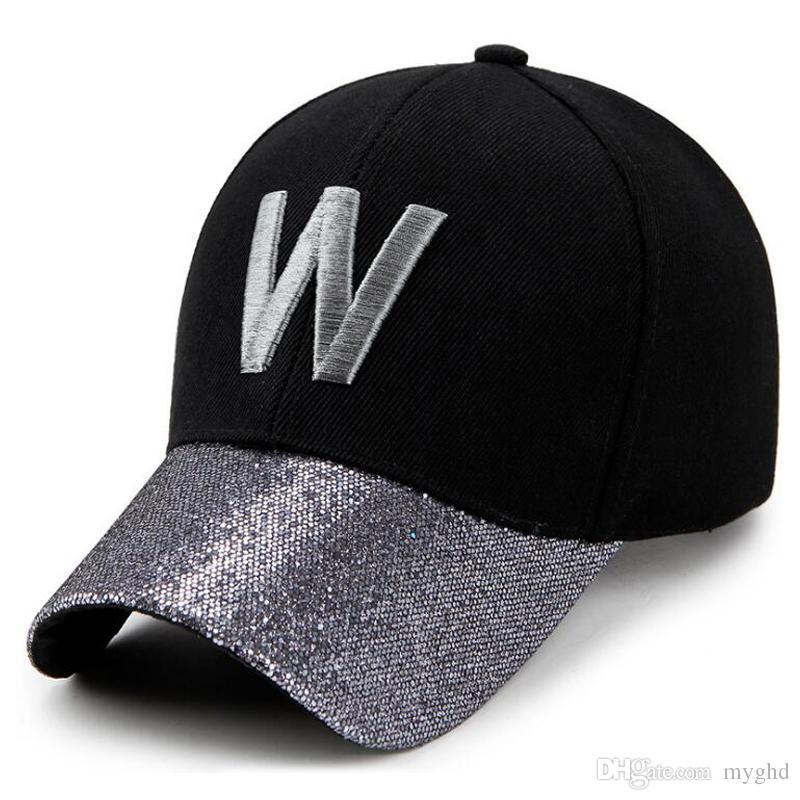 47b52116bc4 6 Colros W Shining Letters Baseball Cap Man Cap Women Fitted Hat Sun ...