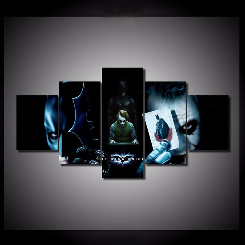 Batman VS Joker,5 Pieces Canvas Prints Wall Art Oil Painting Home Decor /(Unframed/Framed)