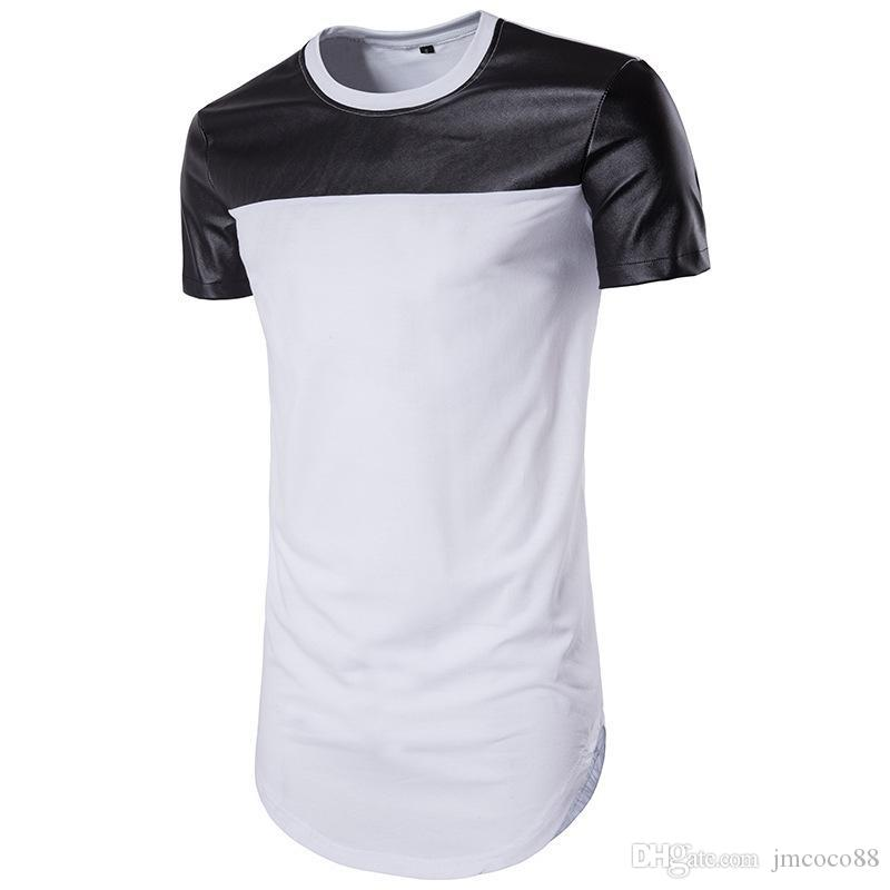 9e019b80dd94 ... Circle Arc Pendulum Solid Color Leather T Shirt Self Fitting Leisure  Fashion Jacket Half Sleeve Shirt Custom T Shirts From Jmcoco88, $33.51|  DHgate.Com
