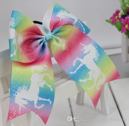"9 STYLE 7"" Large Unicorn Hair Bows Elastic Rubber Bands Cheer Bows Hair Ties Grosgrain Ribbon Cheerleading Bow Hair Accessories /"