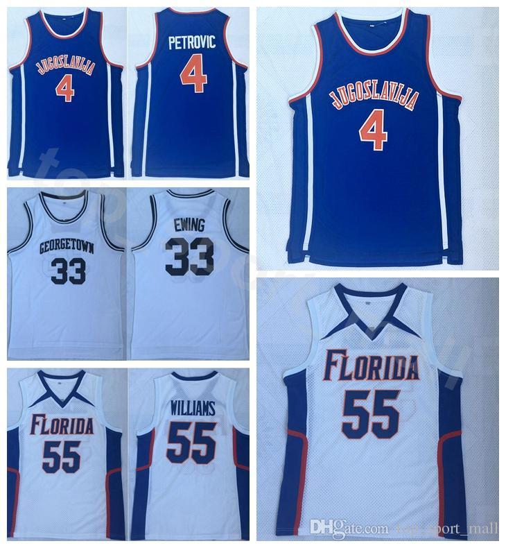 2019 College Jugoslavija 4 Drazen Petrovic Jersey Men Basketball Georgetown  Hoyas 33 Patrick Ewing Florida Gators UFL Double 55 Jason Williams From ... 0ce96fe27