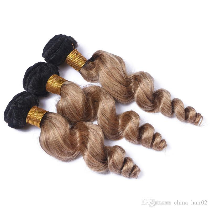 Loose Wave 1B/27 Honey Blonde Ombre Malaysian Human Hair 3Bundles with 4x4 Lace Closure Light Brown Ombre Hair Weaves with Closure