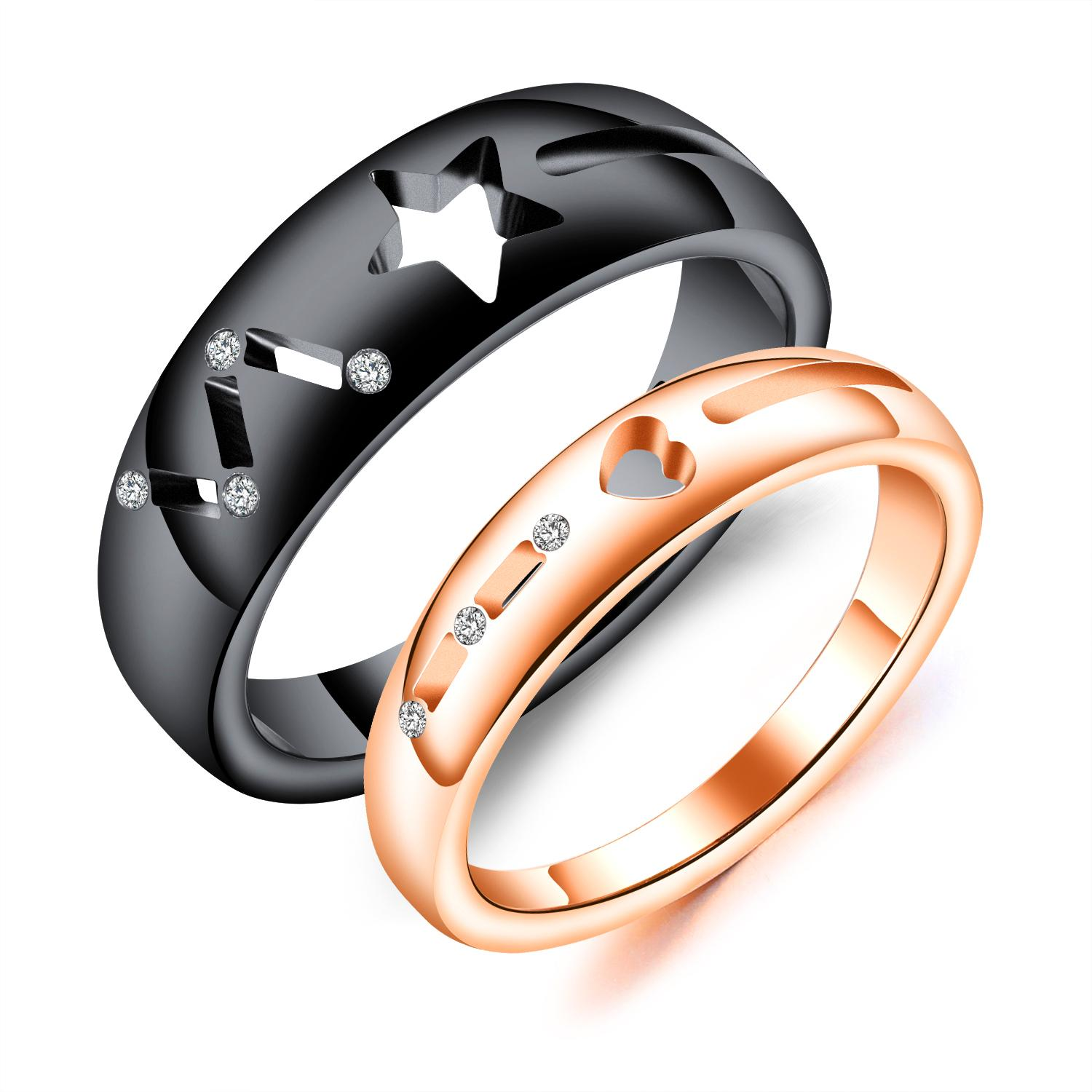 steel for amazon com moon couple vintage ring rings evbea dp set jewelry engagement stainless and sun