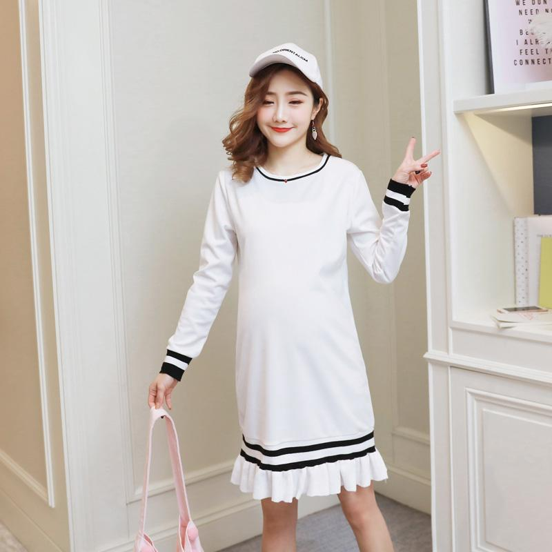 e8ac1879eb652 2019 Autumn Korean Fashion Maternity Dress Sweet White Cotton Clothes For  Pregnant Women Loose Pregnancy Clothing From Mingway245, $18.6 | DHgate.Com