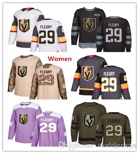pretty nice e5c19 b2c50 Womens Golden Knights 29 Marc-Andre Fleury Hockey Jerseys White Grey Gray  Green Salute 100th Anniversary