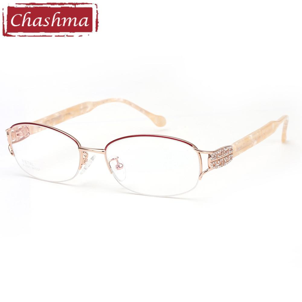 cc8220b5a7d 2019 Chashma Fashion Pure Titanium Frame Lentes Opticos Gafas Top Quality Designer  Frames Light Eyeglasses Rhinestone Glasses Women From Gwyseller
