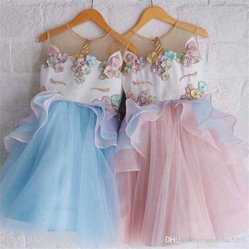 160608bb5c06b Acheter Enfants Fille Licorne Robe Bébé Filles Perles Floral Robes 1 7 Ans  Infantile Princesse Maille Parti Robe Costume 2018 Été Enfants Vêtements  B538 De ...
