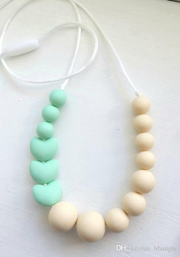 2019 Silicone Teething Necklace Teethers Food Grade Sensory Chew Necklace  With Mint Heart Beads Chewelry Teething Jewellry Mommy Fashion From  Bbangle 87933cf46e