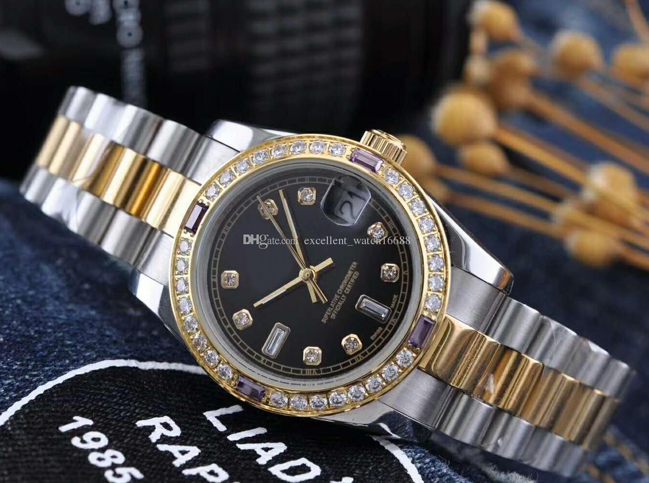 c3207bbd6 NEW Top High Fashion Luxury Brand watches 32 mm 126334 Diamond Bezel Black  Dial Diamond Quartz Two Tone Gold Excellent Women s Watches