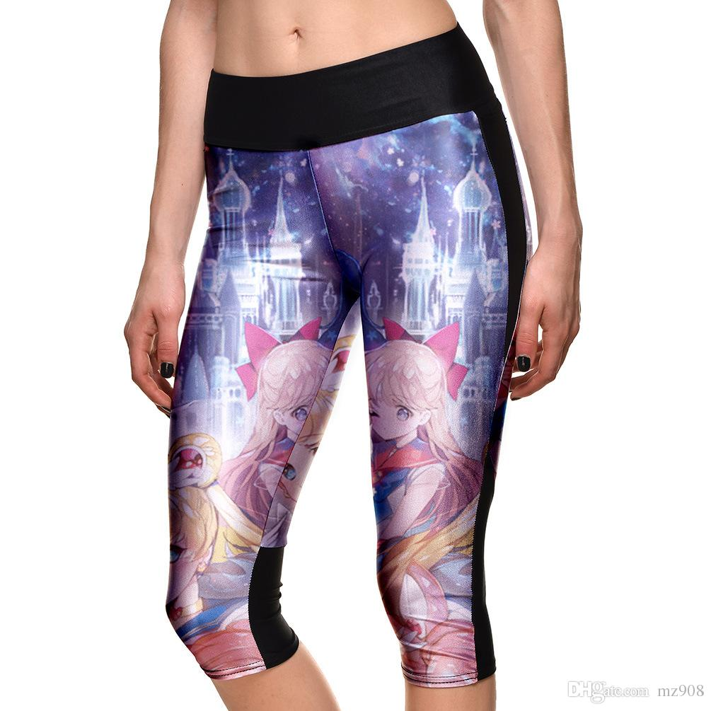 83f67931788c9 2019 Pottis 3D Printed Fitness Push Up Workout Leggings Women Cartoon  Sailor Moon Plus Size High Waist Punk Rock Capris From Mz908, $9.14 |  DHgate.Com