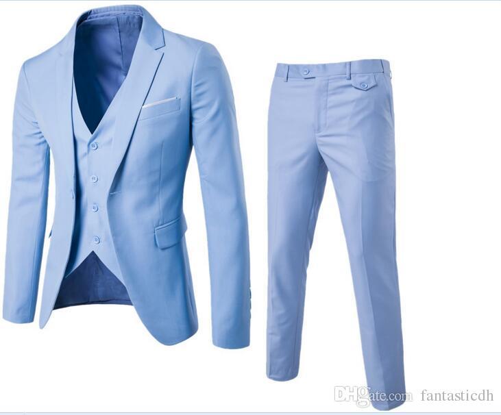 Compre 3 Unidades Conjuntos Traje De Vestimenta De Negocios De Los Hombres  Traje + Chaleco + Pantalones Conjuntos De Chalecos De Marca Slim Trajes ... c04c9eab63c