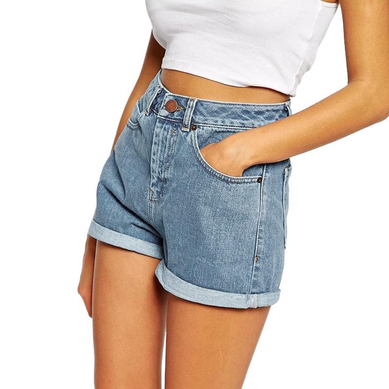 f96d44a4228 Europe Blue Crimping Denim Shorts For Women 2019 Summer New Brand Trendy  Slim Casual Plus Size Womens High Waist Shorts