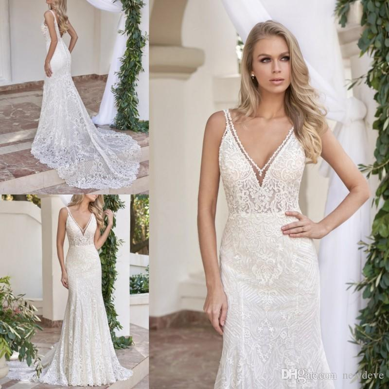 Jasmine Mermaid Wedding Dress Deep V Neck Backless Bridal Gowns ...