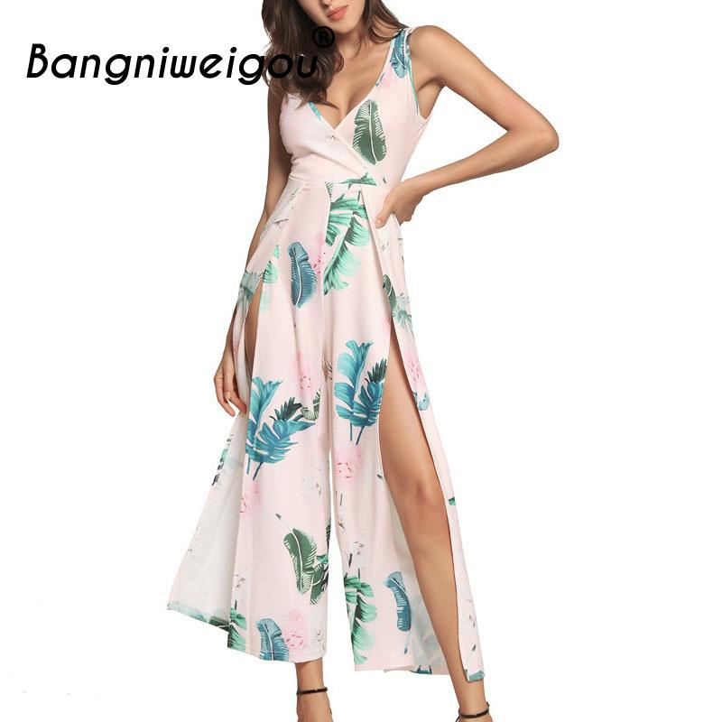 48a229c3564 2019 Bangniweigou V Neck Leg Open Floral Jumpsuit Sexy Cutout Back Tie Up  Bodysuit Women Summer Boho Beach Long Playsuit From Xiatian8