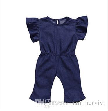 903182447814 2018 New Littler Girls Jeans Jumpsuits Summer Children Falbala Fly ...
