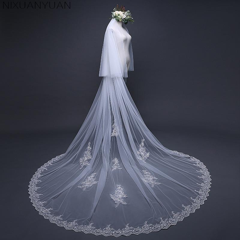 f1cdb14890 2018 New 3.8 Meters One Layer Lace Tulle Long Wedding Veil New White Ivory  3.8 M Bridal Veil With Comb Velos De Novia Bridal Veils And Headpieces  Online ...
