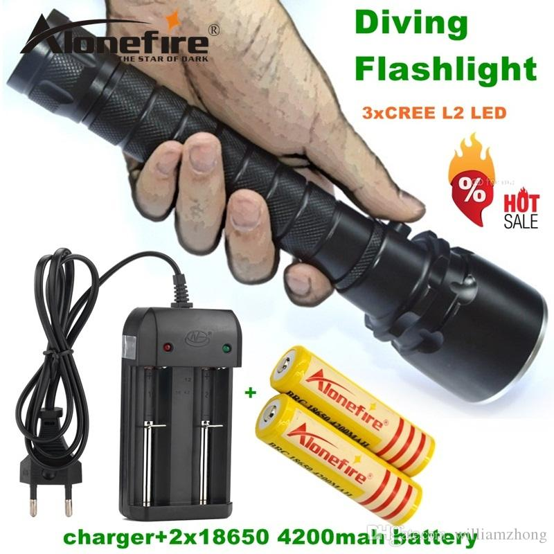 Alonefire DV20 CREE XML L2 LED Waterproof Underwater Diving diver 18650 Flashlight Torch Light Lamp for 18650 battery