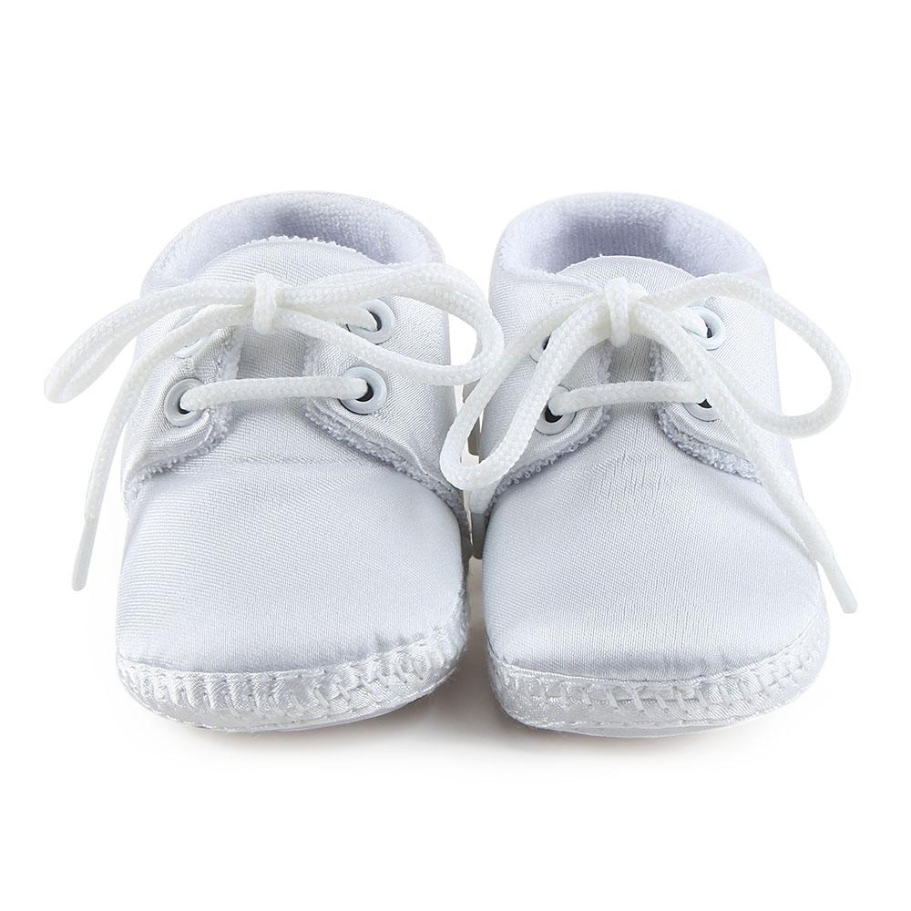 a179f3dab1175 Delebao Newborn Baby Boy Or Girl Pure White The Baptism Of Shoes Unique  Lace-up Soft Sole Cotton Christening First Walkers