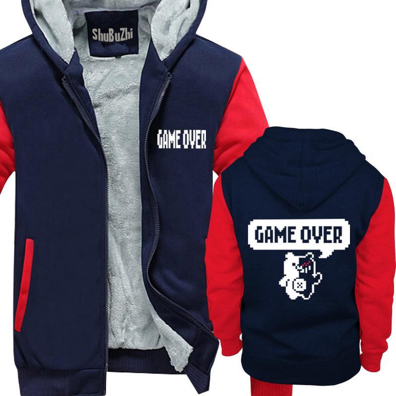winter men thick hoodies male fleece coat Dangan Ronpa hoody DanganRonpa  Game Over shubuzhi man super warm jacket euro size