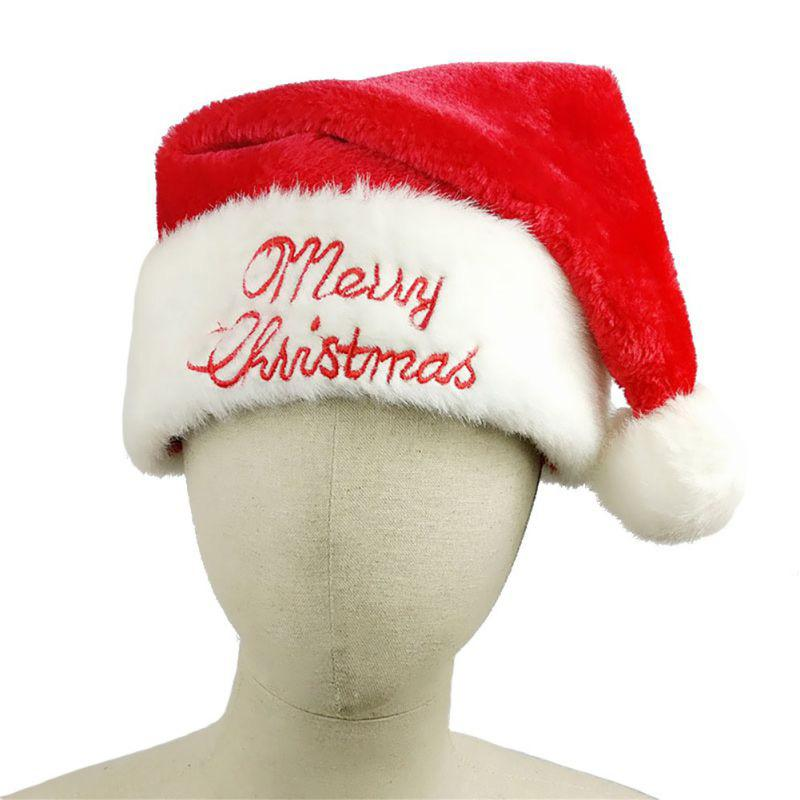 46504c4d82392 2019 Printing Letter Classic Plush Christmas Hat Santa Claus Soft Warm Red  White Plush With Hair Ball Cap From Yarqi