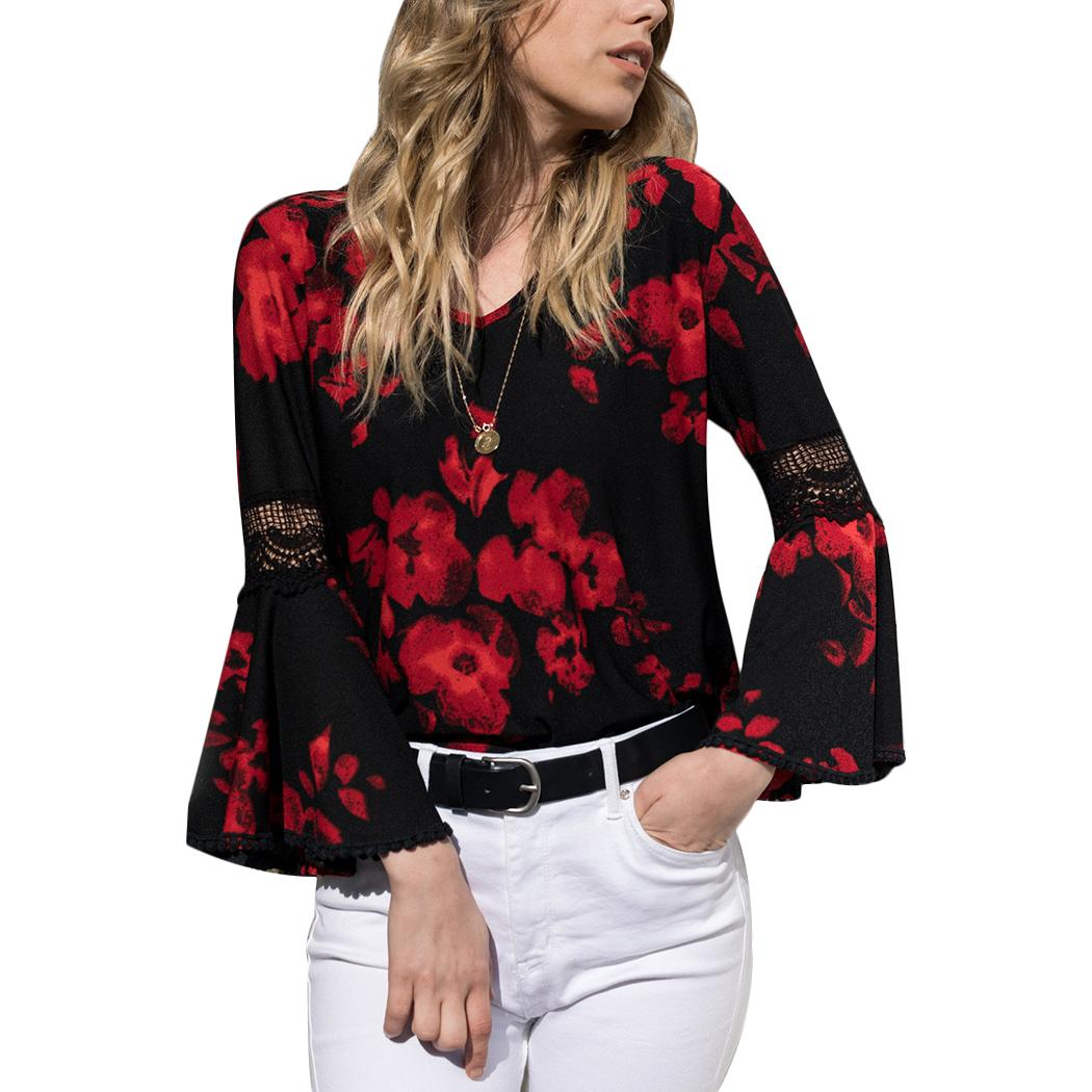 Elegant Women Embroidery Flower Print Blouse Shirts Long Sleeve Pleated Ruffles Shirts Tops Spring Autumn Office Wear Blouses Z4