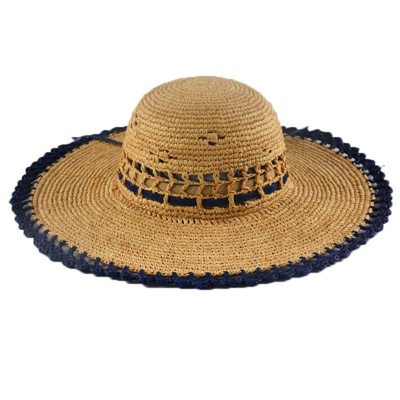 4cde64aa6e1 CCMHAT 1005 Raffia Straw Hat Patchwork Hollow Zonneklep Dames Raffia ...