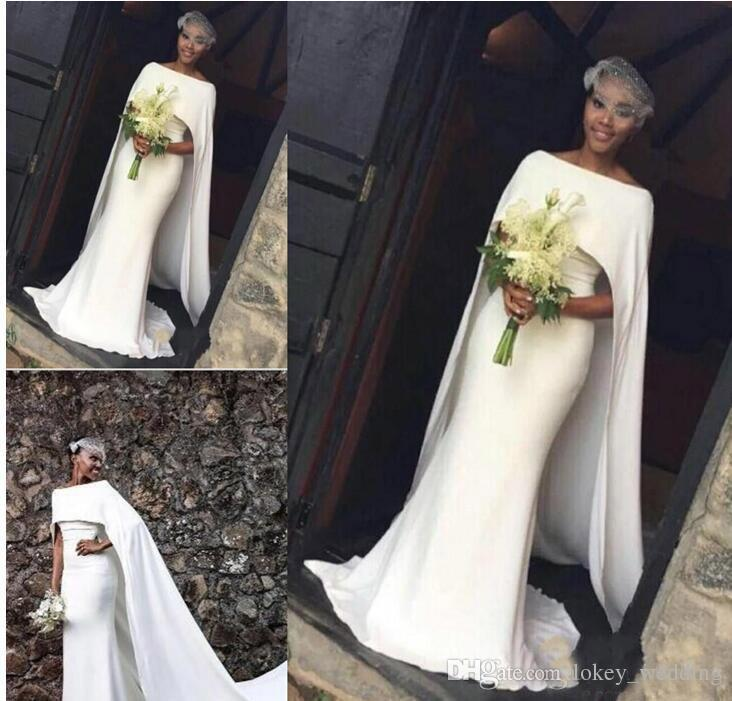 Mermaid Satin Wedding Dresses With Cape African Bateau With Sweep