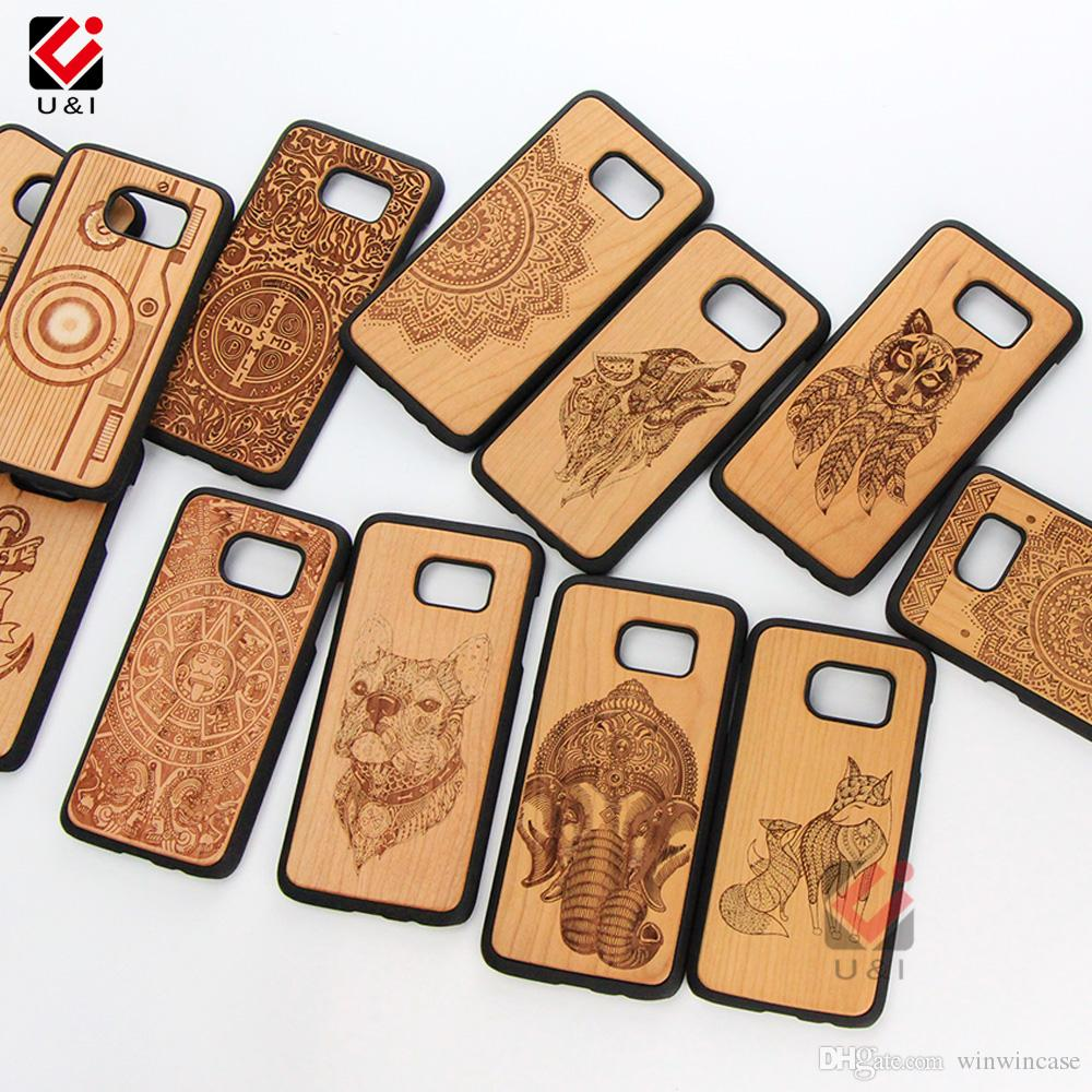 Wolf design wood cell phone cases for Samsung Galaxy s9 s9plus s8 s8plus s7 edge plus creative mobile back cover for Samsung note8