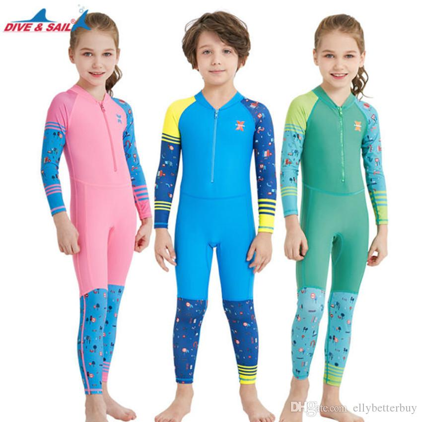 e83154d5a7b25 2019 DIVE&SAIL Kids Girls Boys One Piece Swimsuit Full Long Sleeve Surfing  Snorkeling Swimwear Rash Guards Diving Bathing Suit From Ellybetterbuy, ...