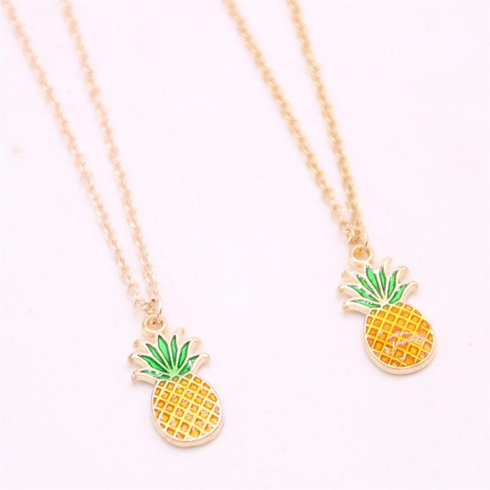 Hot fruit element pendant necklace Mini pineapple pendant necklace designed for women Retail and wholesale mix