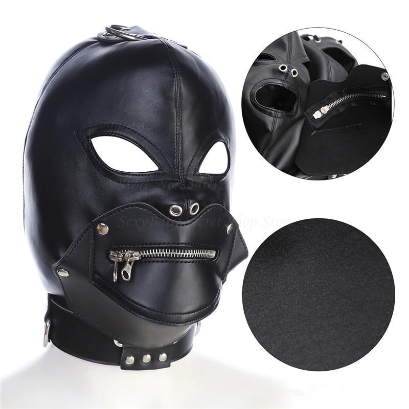 Adjustable PU Leather Open Eyes Mouth Zipper Hood Mask Harness Fetish Slave  Bondage BDSM Adult Games Sex Toys For Men Women Y18102405 Bondage Romance  ...